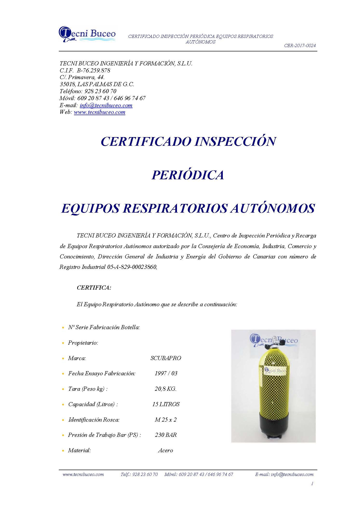 Ejemplo Certificado Inspección Periódica Botella Buceo Tecni Buceo, S.L CER-2017-0024
