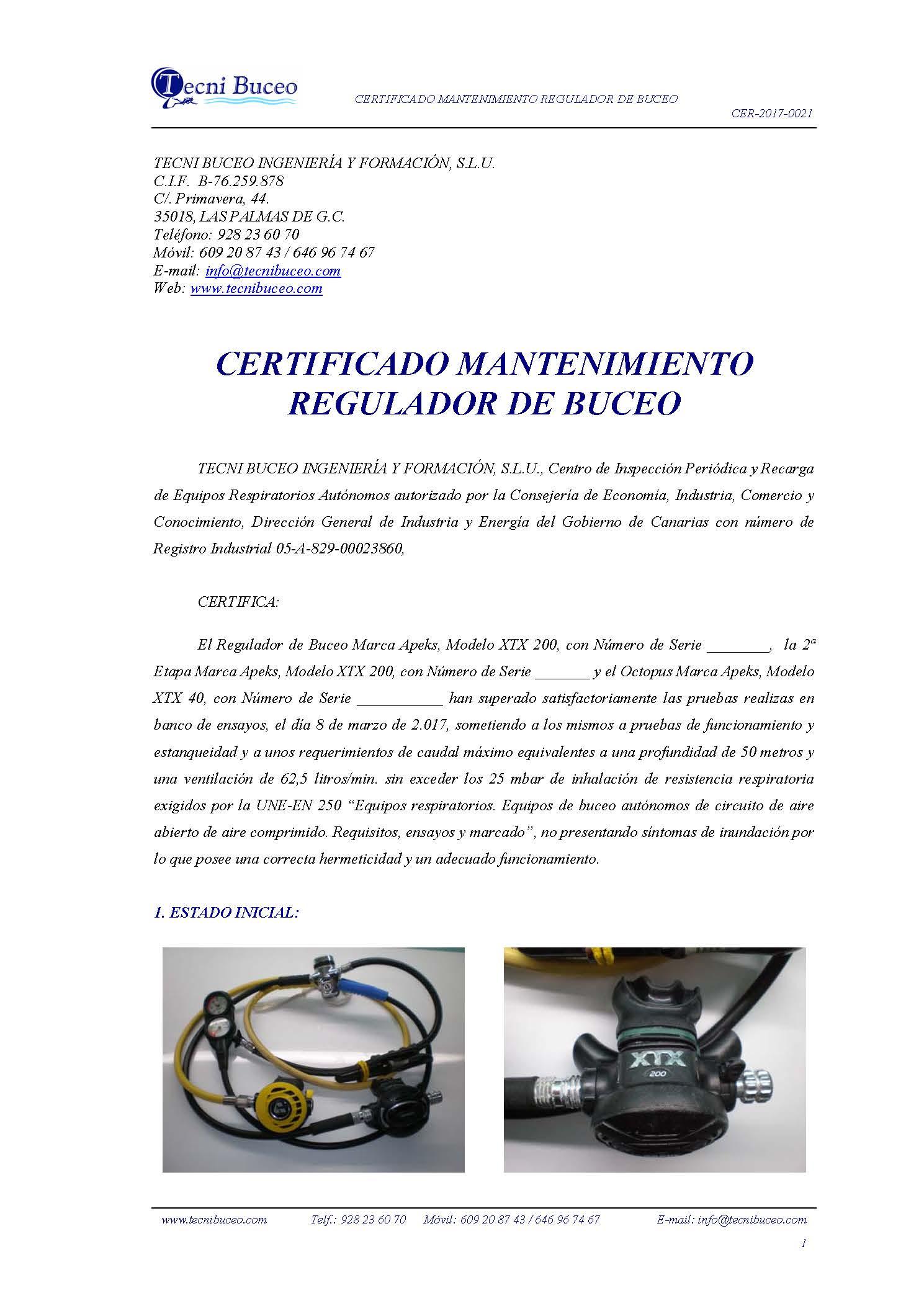 Ejemplo Certificado Mantenimiento Regulador de Buceo Tecni Buceo, S.L CER-2017-0021